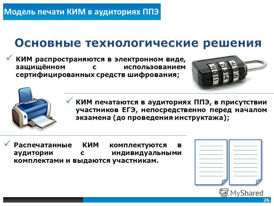 КИМ распространяются в электронном виде, защищённом с использованием сертифицированных средств шифрования; КИМ печатаются в аудиториях ППЭ, в присутствии участников ЕГЭ, непосредственно перед началом экзамена (до проведения инструктажа); Распечатанны