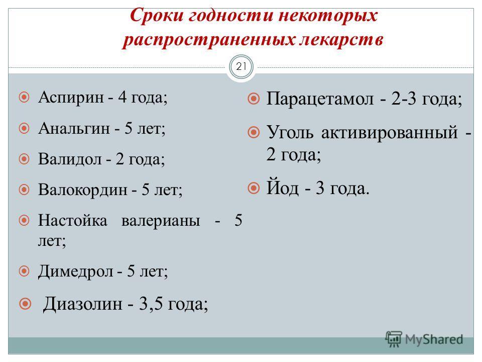Сроки годности некоторых распространенных лекарств 21 Аспирин - 4 года; Анальгин - 5 лет; Валидол - 2 года; Валокордин - 5 лет; Настойка валерианы - 5 лет; Димедрол - 5 лет; Диазолин - 3,5 года; Парацетамол - 2-3 года; Уголь активированный - 2 года;