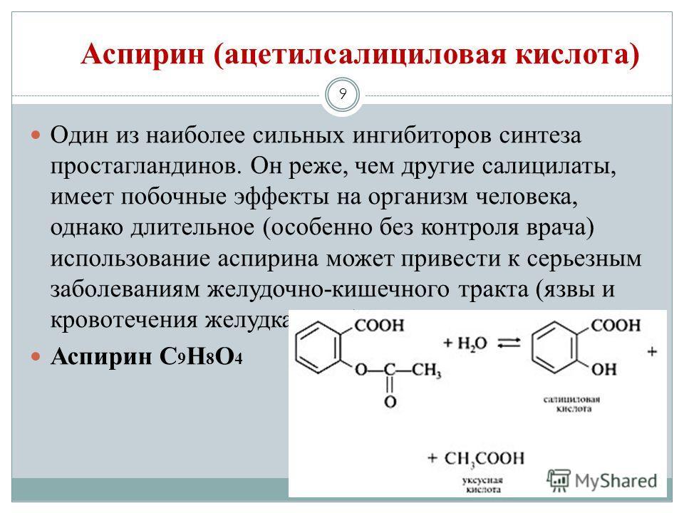 Аспирин (ацетилсалициловая кислота) 9 Один из наиболее сильных ингибиторов синтеза простагландинов. Он реже, чем другие салицилаты, имеет побочные эффекты на организм человека, однако длительное (особенно без контроля врача) использование аспирина мо
