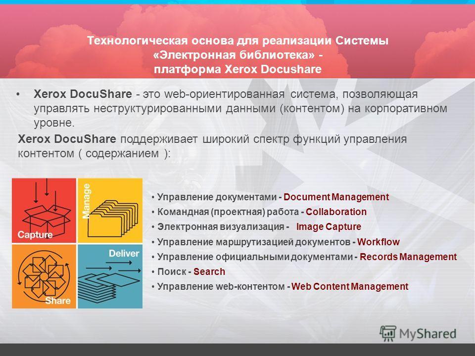 Технологическая основа для реализации Системы «Электронная библиотека» - платформа Xerox Docushare Xerox DocuShare поддерживает широкий спектр функций управления контентом ( содержанием ): Управление документами - Document Management Командная (проек