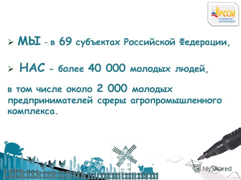 МЫ - в 69 субъектах Российской Федерации, НАС - более 40 000 молодых людей, в том числе около 2 000 молодых предпринимателей сферы агропромышленного комплекса.