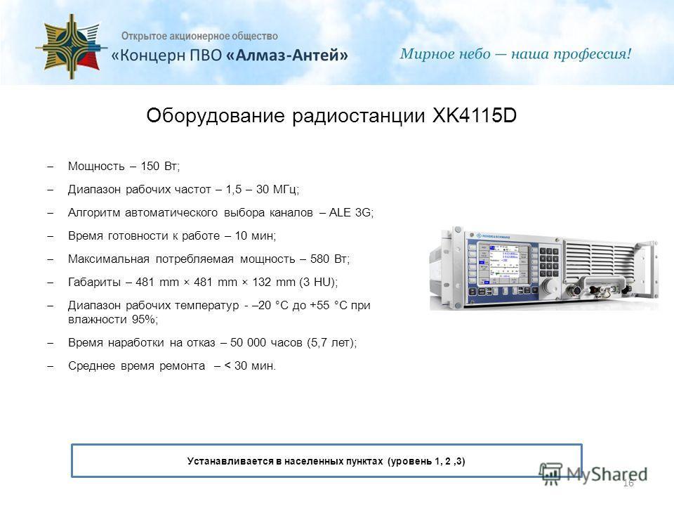 Оборудование радиостанции XK4115D Мощность – 150 Вт; Диапазон рабочих частот – 1,5 – 30 МГц; Алгоритм автоматического выбора каналов – ALE 3G; Время готовности к работе – 10 мин; Максимальная потребляемая мощность – 580 Вт; Габариты – 481 mm × 481 mm