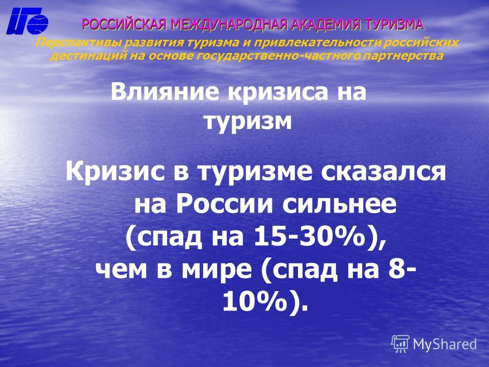 Влияние кризиса на туризм РОССИЙСКАЯ МЕЖДУНАРОДНАЯ АКАДЕМИЯ ТУРИЗМА Перспективы развития туризма и привлекательности российских дестинаций на основе государственно-частного партнерства Кризис в туризме сказался на России сильнее (спад на 15-30%), чем