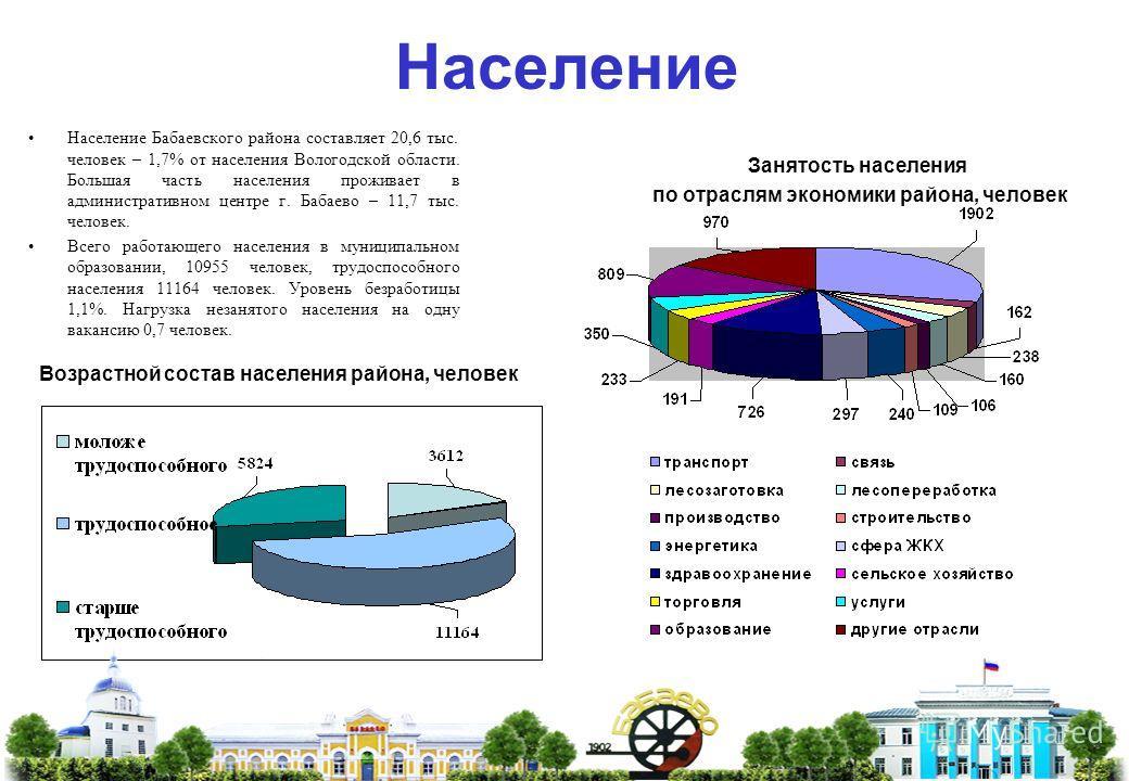 Население Возрастной состав населения района, человек Население Бабаевского района составляет 20,6 тыс. человек – 1,7% от населения Вологодской области. Большая часть населения проживает в административном центре г. Бабаево – 11,7 тыс. человек. Всего