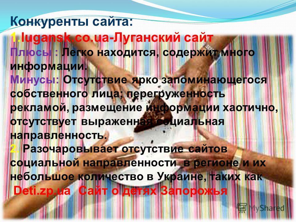 Конкуренты сайта: 1.lugansk.co.ua-Луганский сайт Плюсы : Легко находится, содержит много информации. Минусы: Отсутствие ярко запоминающегося собственного лица; перегруженность рекламой, размещение информации хаотично, отсутствует выраженная социальна