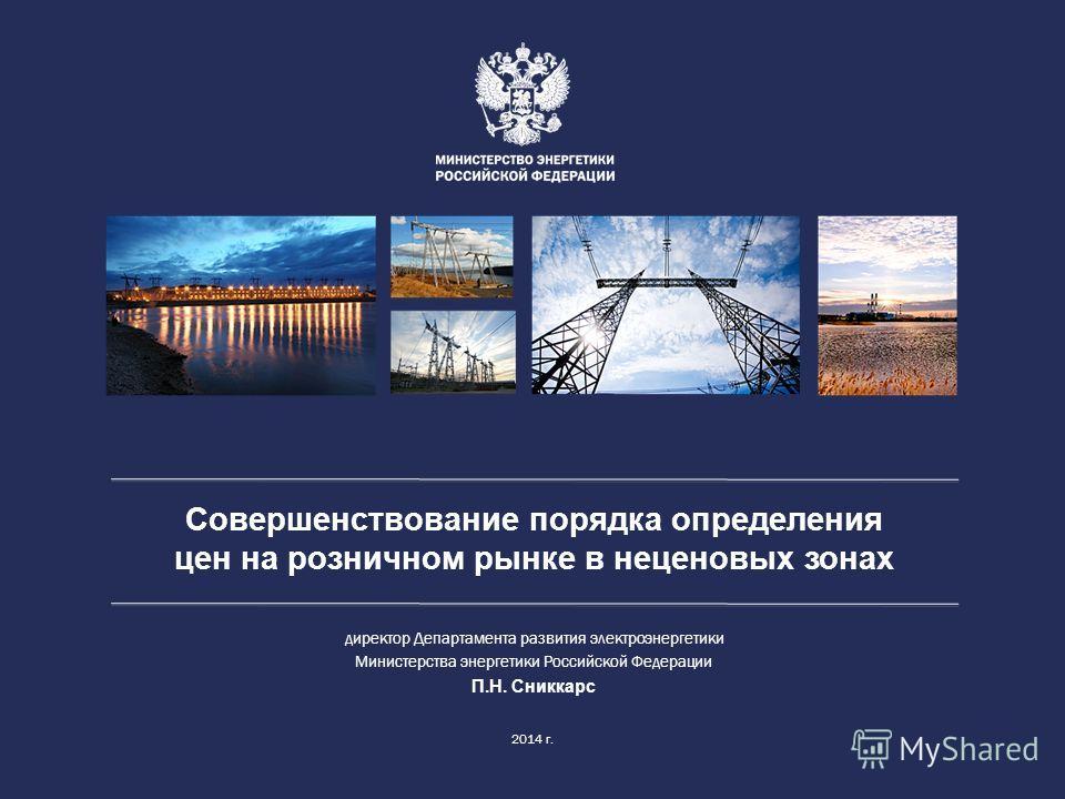 Совершенствование порядка определения цен на розничном рынке в неценовых зонах 2014 г. директор Департамента развития электроэнергетики Министерства энергетики Российской Федерации П.Н. Сниккарс