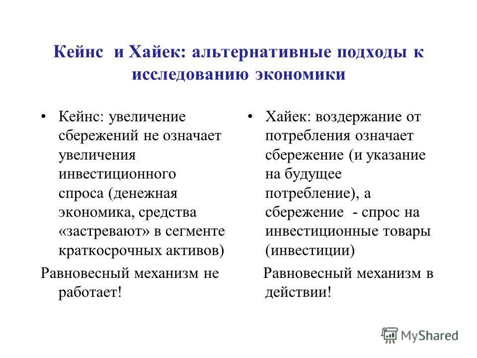 Кейнс и Хайек: альтернативные подходы к исследованию экономики Кейнс: увеличение сбережений не означает увеличения инвестиционного спроса (денежная экономика, средства «застревают» в сегменте краткосрочных активов) Равновесный механизм не работает! Х