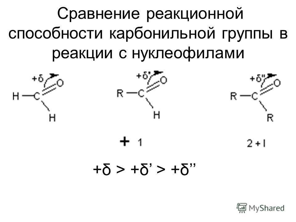 Сравнение реакционной способности карбонильной группы в реакции с нуклеофилами +δ > +δ > +δ