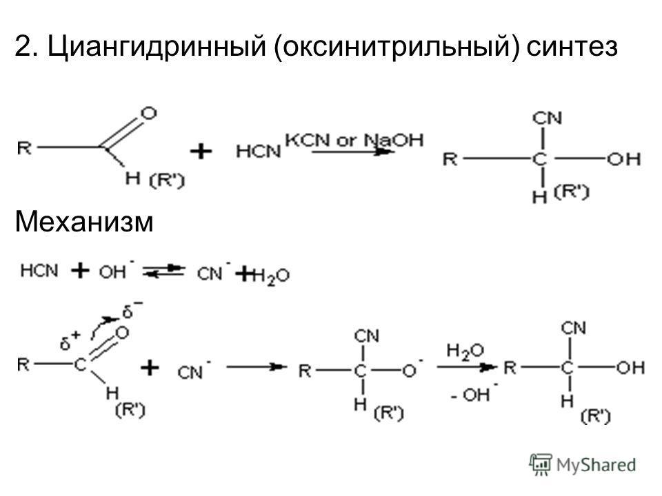 2. Циангидринный (оксинитрильный) синтез Механизм