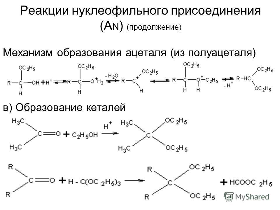 Реакции нуклеофильного присоединения (A N ) (продолжение) Механизм образования ацеталя (из полуацеталя) в) Образование деталей