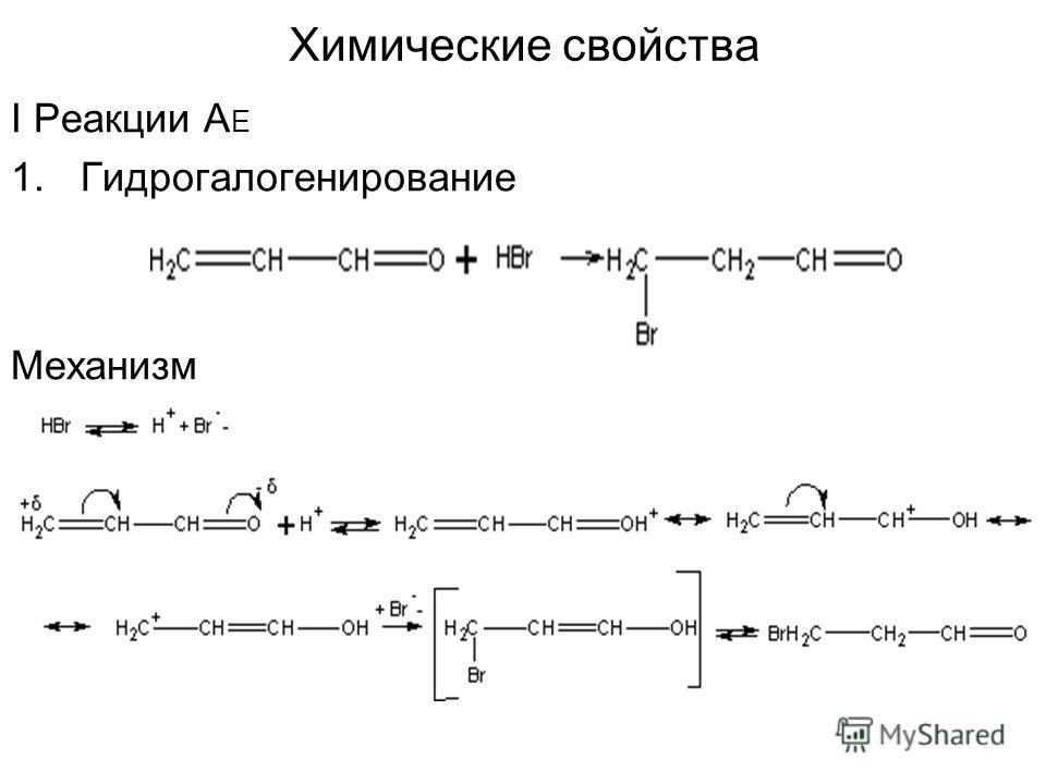 Химические свойства I Реакции А Е 1. Гидрогалогенирование Механизм