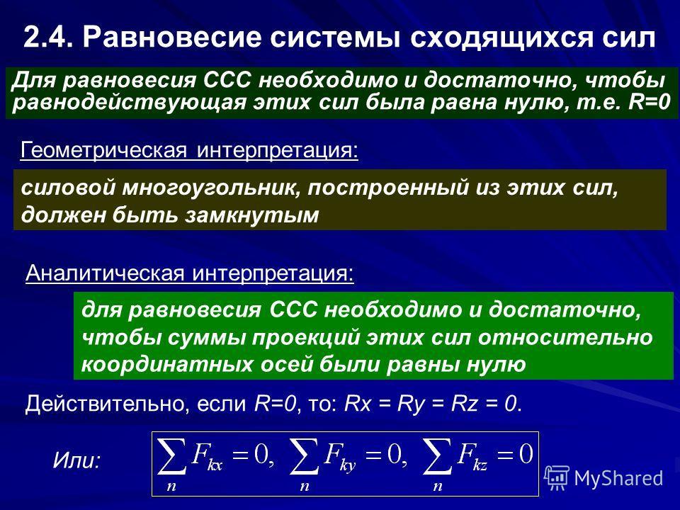2.4. Равновесие системы сходящихся сил Для равновесия ССС необходимо и достаточно, чтобы равнодействующая этих сил была равна нулю, т.е. R=0 Геометрическая интерпретация: силовой многоугольник, построенный из этих сил, должен быть замкнутым Аналитиче
