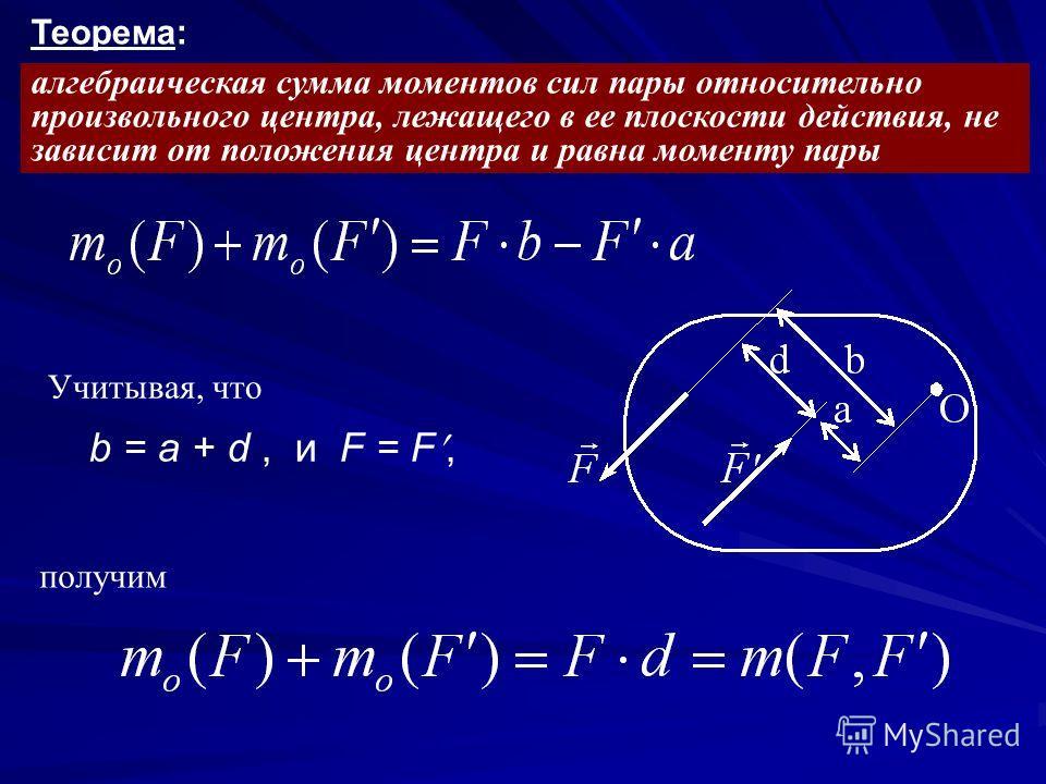 алгебраическая сумма моментов сил пары относительно произвольного центра, лежащего в ее плоскости действия, не зависит от положения центра и равна моменту пары Теорема: Учитывая, что b = a + d, и F = F, получим