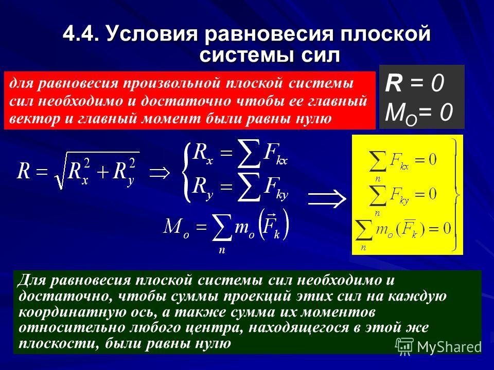 4.4. Условия равновесия плоской системы сил для равновесия произвольной плоской системы сил необходимо и достаточно чтобы ее главный вектор и главный момент были равны нулю R = 0 M O = 0 Для равновесия плоской системы сил необходимо и достаточно, что