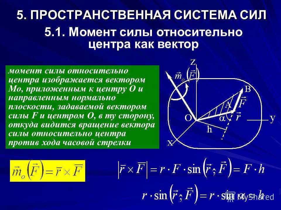 5. ПРОСТРАНСТВЕННАЯ СИСТЕМА СИЛ 5.1. Момент силы относительно центра как вектор момент силы относительно центра изображается вектором Мо, приложенным к центру О и направленным нормально плоскости, задаваемой вектором силы F и центром O, в ту сторону,