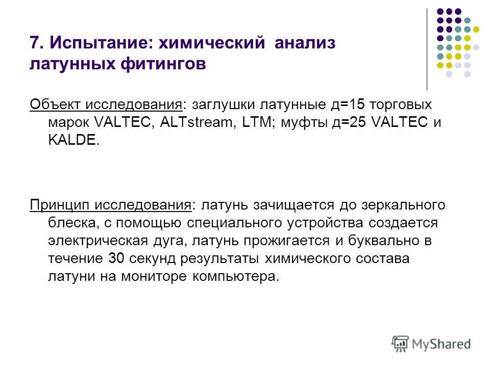 7. Испытание: химический анализ латунных фитингов Объект исследования: заглушки латунные д=15 торговых марок VALTEC, ALTstream, LTM; муфты д=25 VALTEC и KALDE. Принцип исследования: латунь зачищается до зеркального блеска, с помощью специального устр
