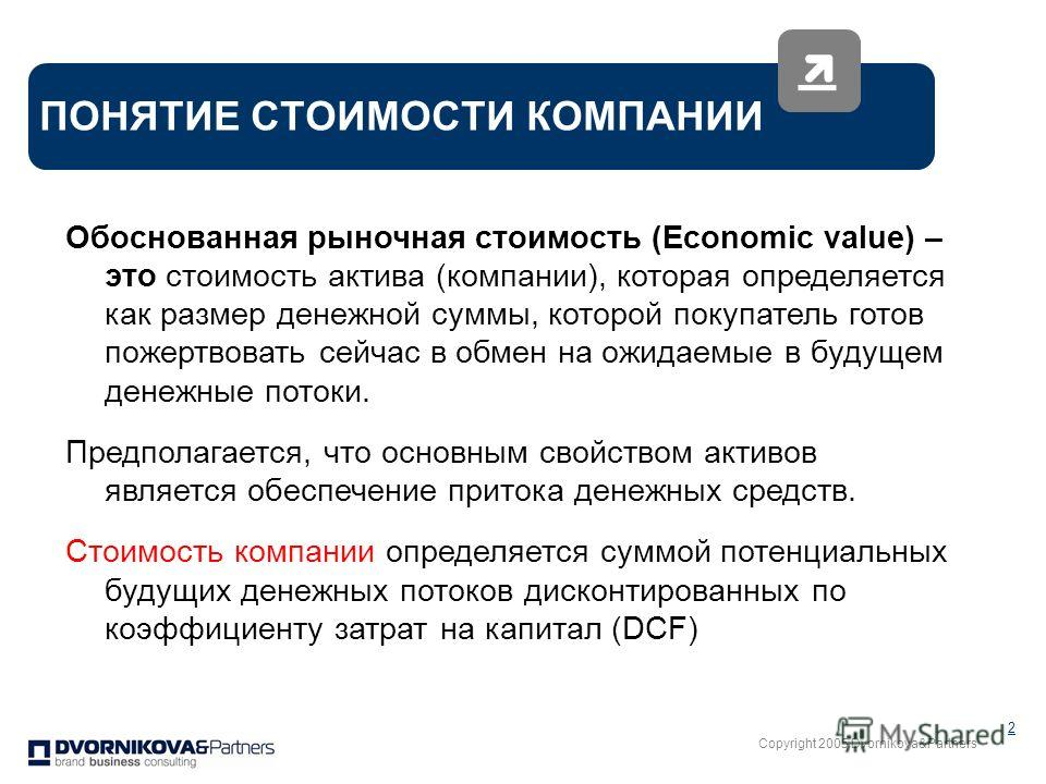 Copyright 2005 Dvornikova&Partners 2 ПОНЯТИЕ СТОИМОСТИ КОМПАНИИ Обоснованная рыночная стоимость (Economic value) – это стоимость актива (компании), которая определяется как размер денежной суммы, которой покупатель готов пожертвовать сейчас в обмен н