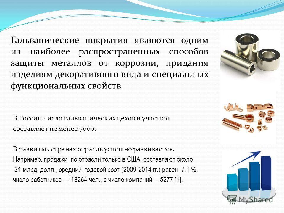 В России число гальванических цехов и участков составляет не менее 7000. В развитых странах отрасль успешно развивается. Например, продажи по отрасли только в США составляют около 31 млрд. долл., средний годовой рост (2009-2014 гг.) равен 7,1 %, числ