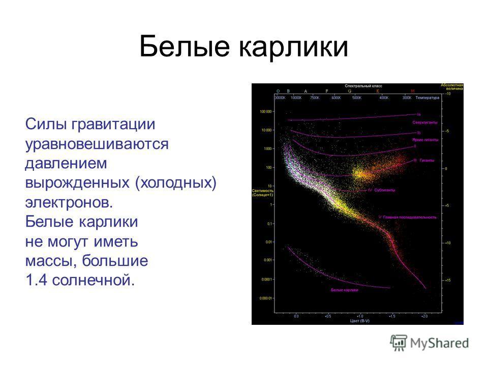 Белые карлики Силы гравитации уравновешиваются давлением вырожденных (холодных) электронов. Белые карлики не могут иметь массы, большие 1.4 солнечной.
