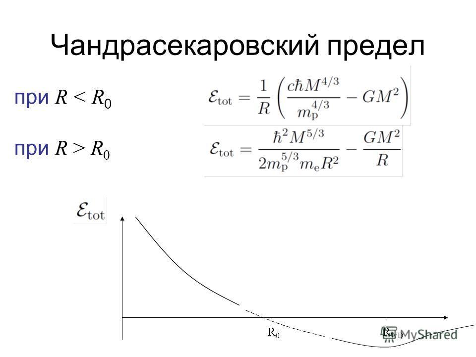 Чандрасекаровский предел при R < R 0 при R > R 0 R 0 R WD