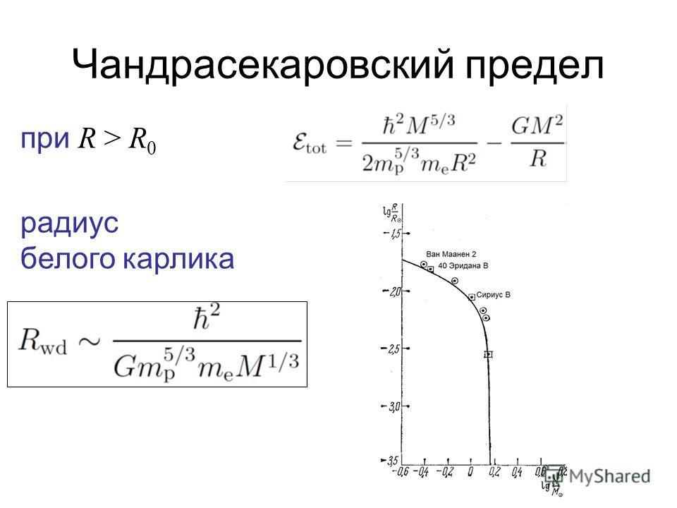 Чандрасекаровский предел при R > R 0 радиус белого карлика
