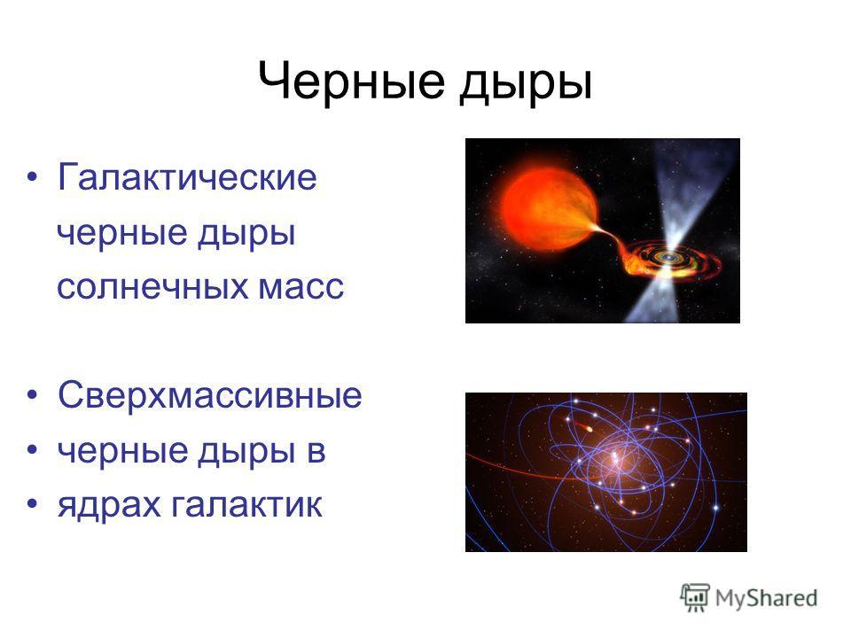 Черные дыры Галактические черные дыры солнечных масс Сверхмассивные черные дыры в ядрах галактик
