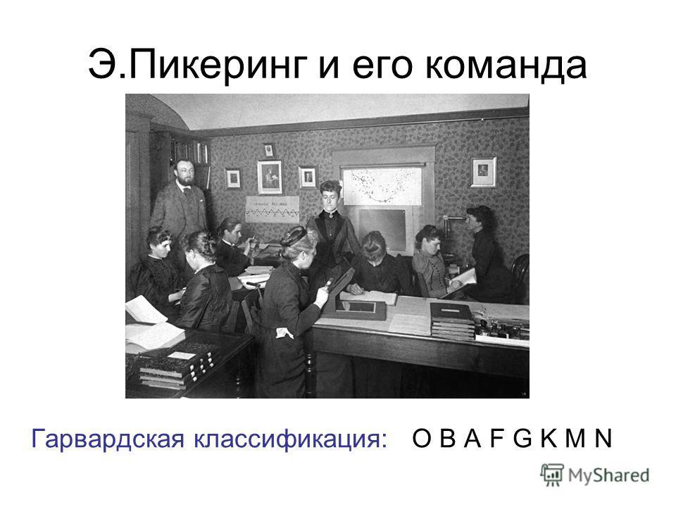 Э.Пикеринг и его команда Гарвардская классификация: O B A F G K M N