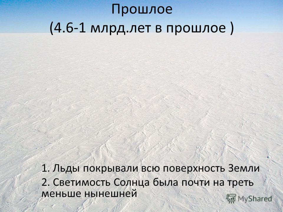 Прошлое (4.6-1 млрд.лет в прошлое ) 1. Льды покрывали всю поверхность Земли 2. Светимость Солнца была почти на треть меньше нынешней