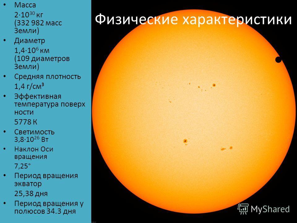 Физические характеристики Масса 2·10 30 кг (332 982 масс Земли) Диаметр 1,4·10 6 км (109 диаметров Земли) Средняя плотность 1,4 г/см³ Эффективная температура поверхности 5778 К Светимость 3,8·10 26 Вт Наклон Оси вращения 7,25° Период вращения экватор