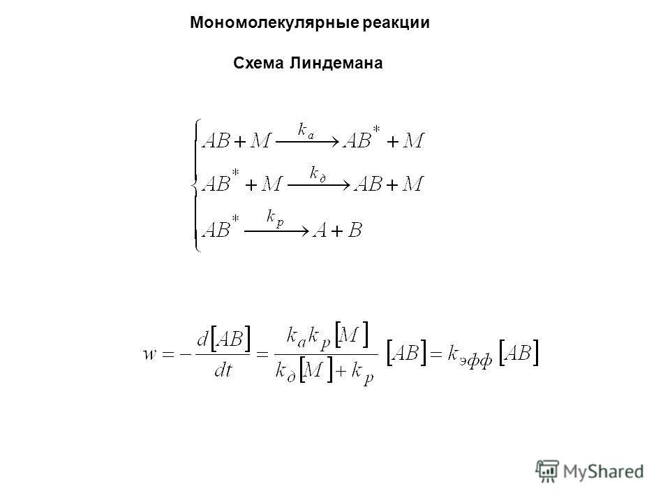 Мономолекулярные реакции Схема Линдемана