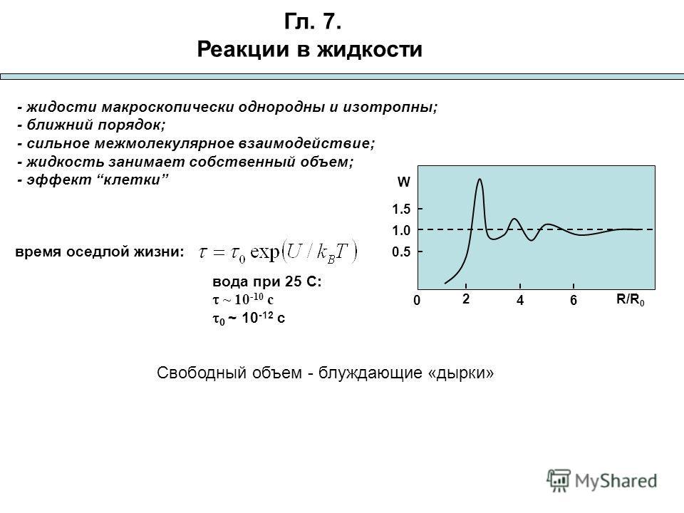 Гл. 7. Реакции в жидкости - жидкости макроскопически однородны и изотропны; - ближний порядок; - сильное межмолекулярное взаимодействие; - жидкость занимает собственный объем; - эффект клетки W 0 2 46 1.0 0.5 1.5 R/R 0 время оседлой жизни: вода при 2