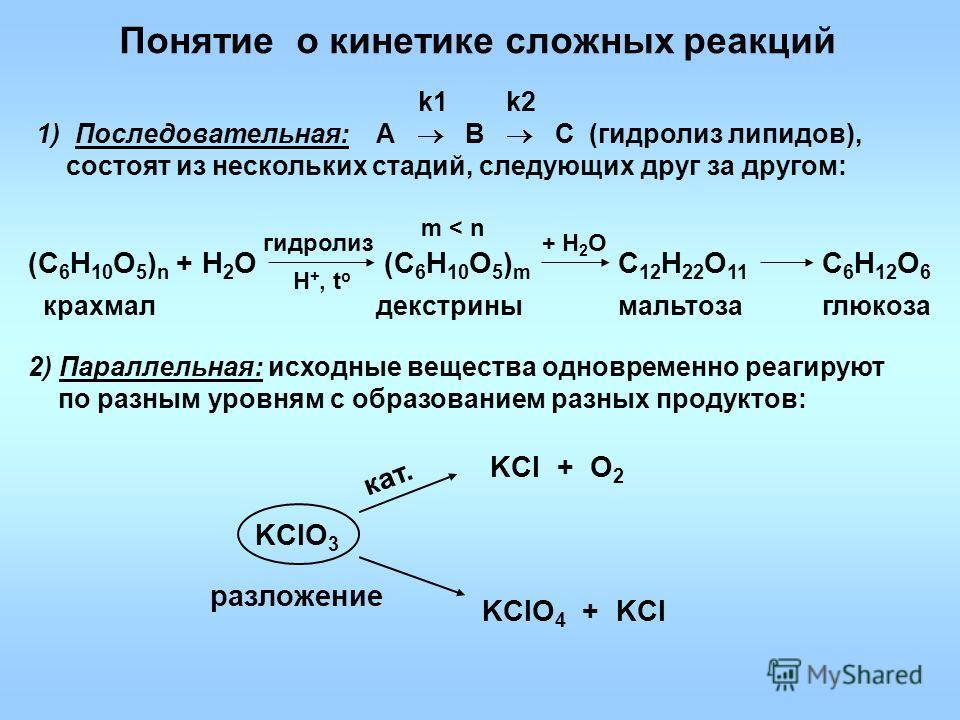 Понятие о кинетике сложных реакций 2) Параллельная: исходные вещества одновременно реагируют по разным уровням с образованием разных продуктов: (С 6 Н 10 О 5 ) n + Н 2 О гидролиз крахмал Н +, t o (С 6 Н 10 О 5 ) m С 12 Н 22 О 11 декстрины + Н 2 О С 6