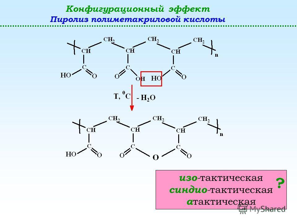 11 Конфигурационный эффект Пиролиз полиметакриловой кислоты изо - тактическая синдио - тактическая а тактическая ?