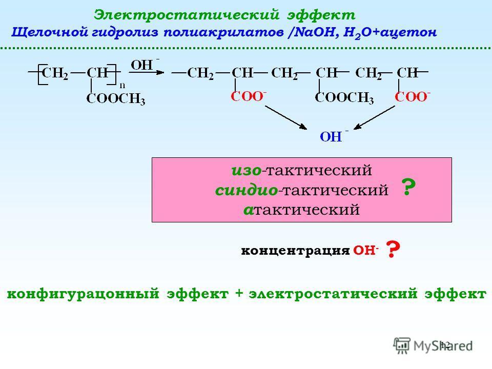 12 Электростатический эффект Щелочной гидролиз полиакрилатов /NaOH, H 2 O+ацетон изо - тактический синдио - тактический а тактический ? концентрация ОН - ? конфигурационный эффект + электростатический эффект