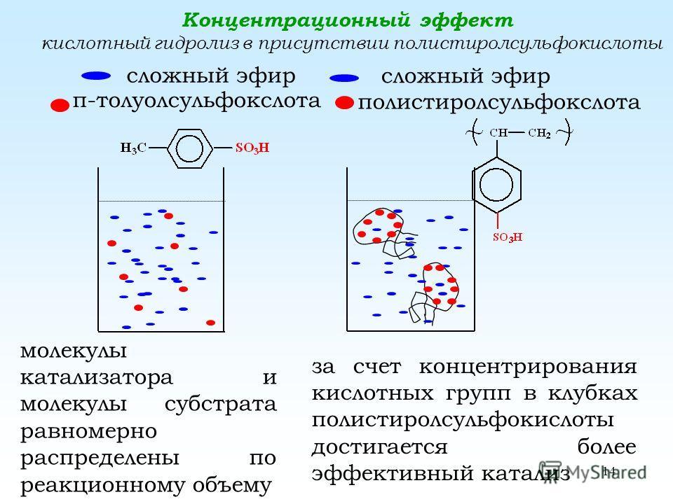 14 Концентрационный эффект кислотный гидролиз в присутствии полстиролсульфокислоты сложный эфир п-толуолсульфокислота сложный эфир полистиролсульфокслота молекулы катализатора и молекулы субстрата равномерно распределены по реакционному объему за сче