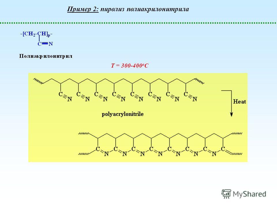 Т = 300-400 о С Пример 2: пиролиз полиакрилонитрила