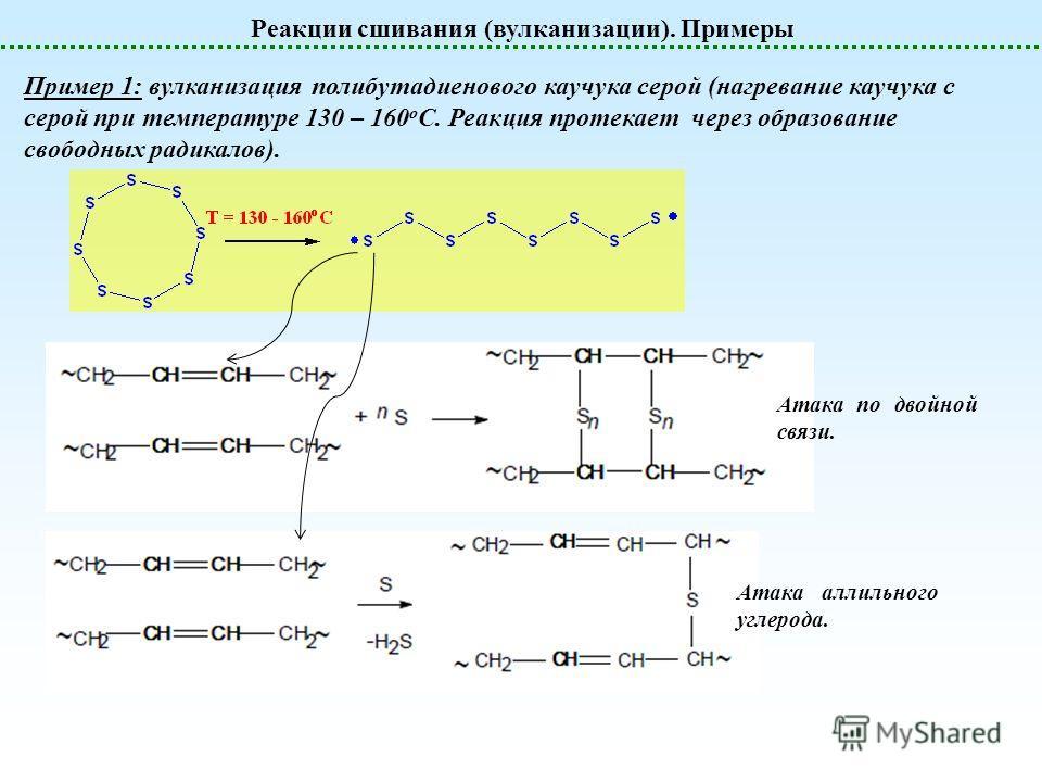 Реакции сшивания (вулканизации). Примеры Пример 1: вулканизация полибутадиенового каучука серой (нагревание каучука с серой при температуре 130 – 160 о С. Реакция протекает через образование свободных радикалов). Атака по двойной связи. Атака аллильн
