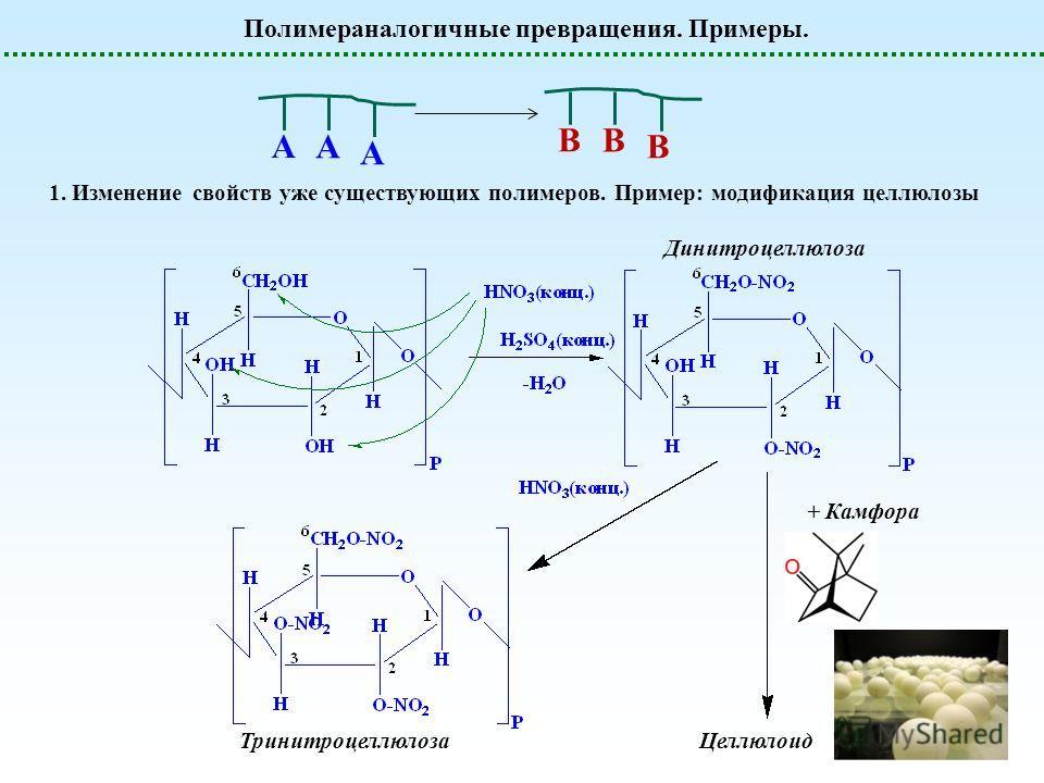 Полимераналогичные превращения. Примеры. 1. Изменение свойств уже существующих полимеров. Пример: модификация целлюлозы B B B А А А Динитроцеллюлоза Тринитроцеллюлоза + Камфора Целлюлоид