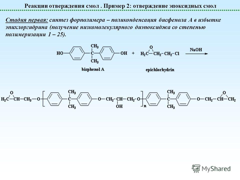 Реакции отверждения смол. Пример 2: отверждение эпоксидных смол Стадия первая: синтез форполимера – поликонденсация бисфенола А в избытке эпихлоргидрина (получение низкомолекулярного диэпоксиджа со степенью полимеризации 1 – 25).