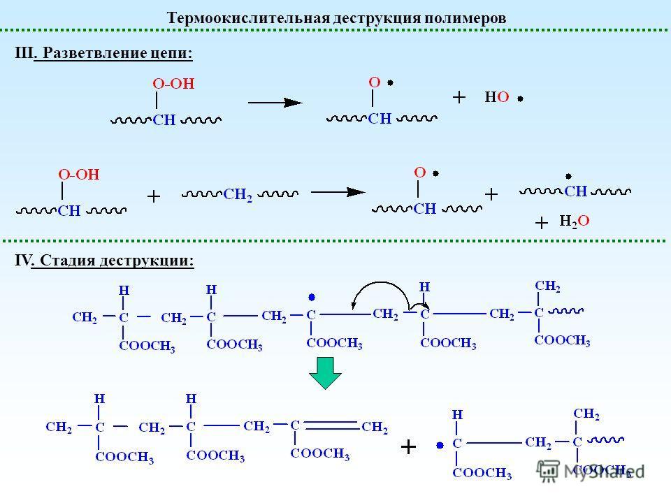 Термоокислительная деструкция полимеров III. Разветвление цепи: IV. Стадия деструкции: