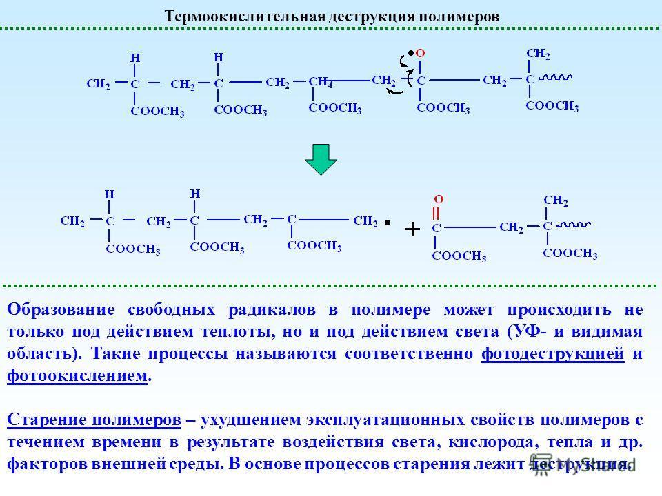 Термоокислительная деструкция полимеров Образование свободных радикалов в полимере может происходить не только под действием теплоты, но и под действием света (УФ- и видимая область). Такие процессы называются соответственно фото деструкцией и фотоок