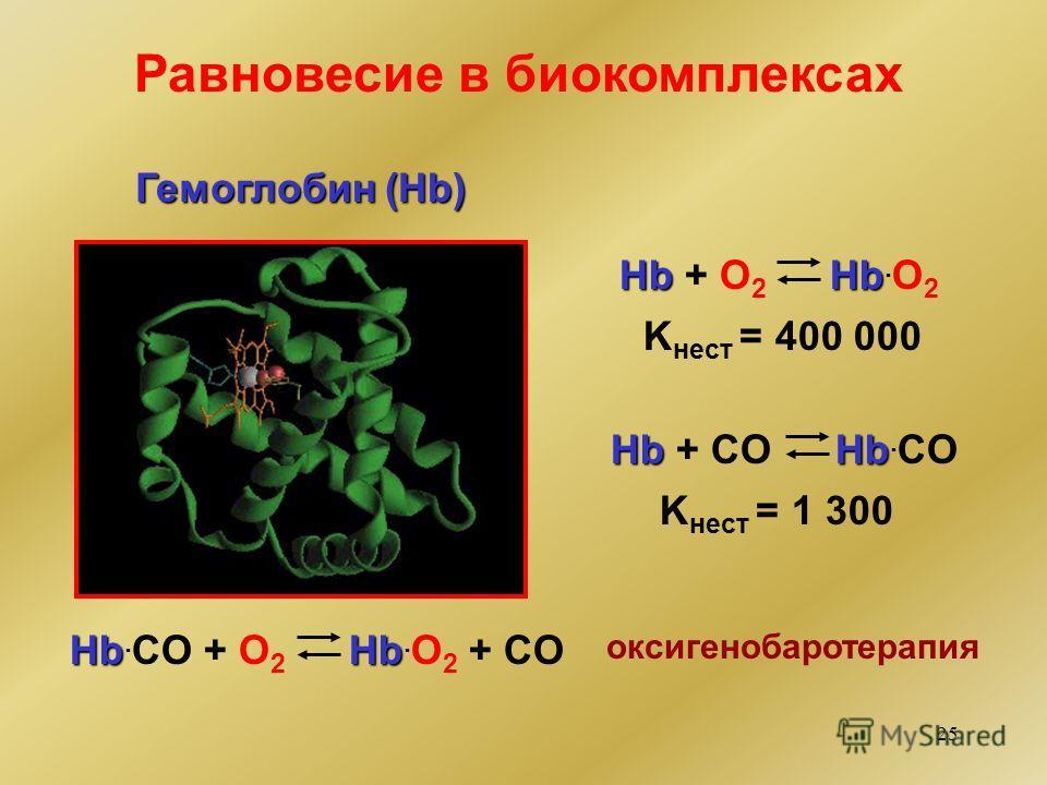 25 Равновесие в биокомплексах Гемоглобин (Hb) Hb Hb + O2 O2 Hb Hb. O 2 Hb Hb + CO Hb Hb. CO + O2 O2 Hb Hb. O 2 + CO K нест = 400 000 K нест = 1 300 оксигенобаротерапия