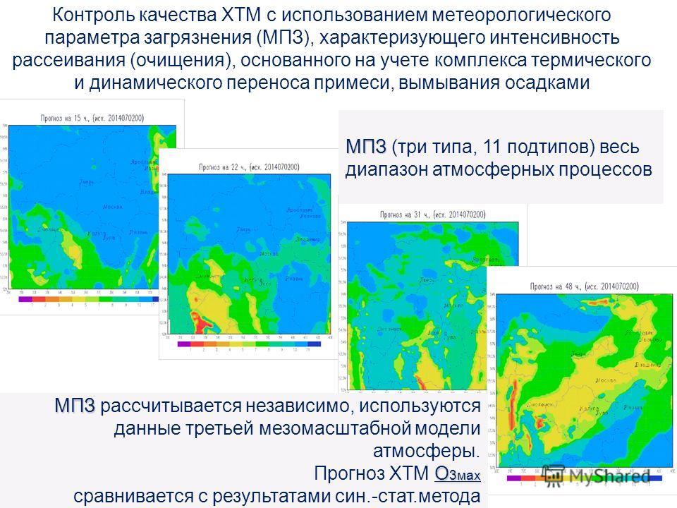 Контроль качества ХТМ с использованием метеорологического параметра загрязнения (МПЗ), характеризующего интенсивность рассеивания (очищения), основанного на учете комплекса термического и динамического переноса примеси, вымывания осадками МПЗ О 3 мах