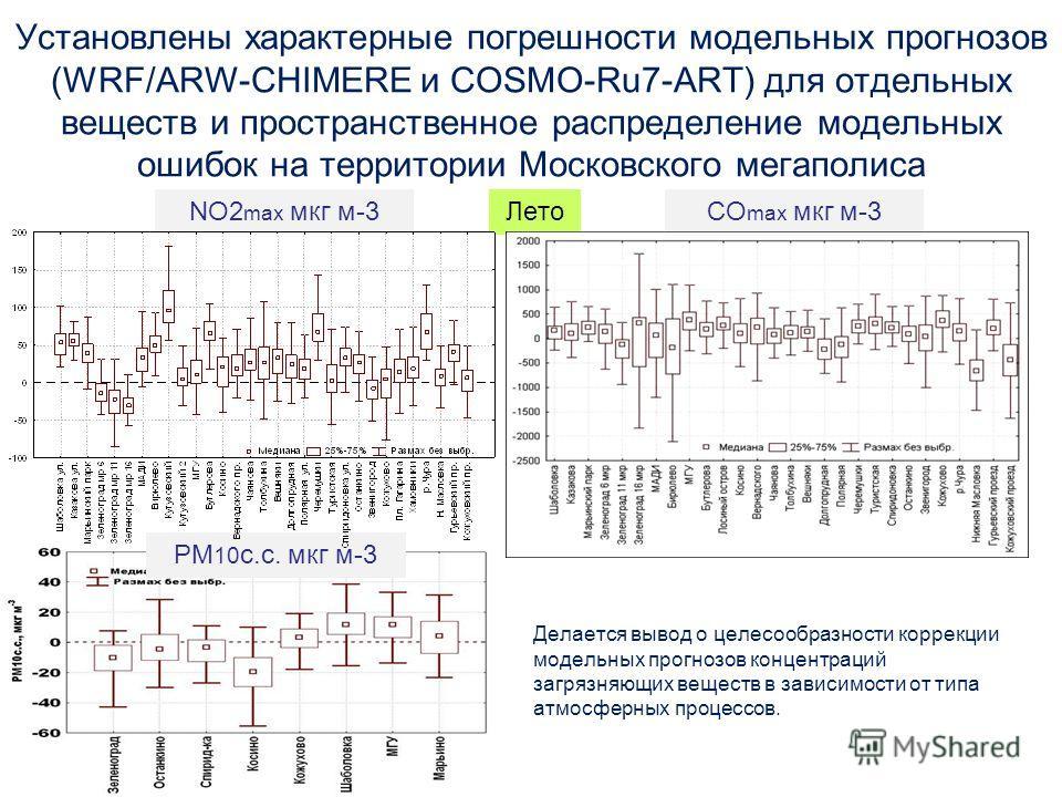 Установлены характерные погрешности модельных прогнозов (WRF/ARW-CHIMERE и COSMO-Ru7-ART) для отдельных веществ и пространственное распределение модельных ошибок на территории Московского мегаполиса Делается вывод о целесообразности коррекции модельн
