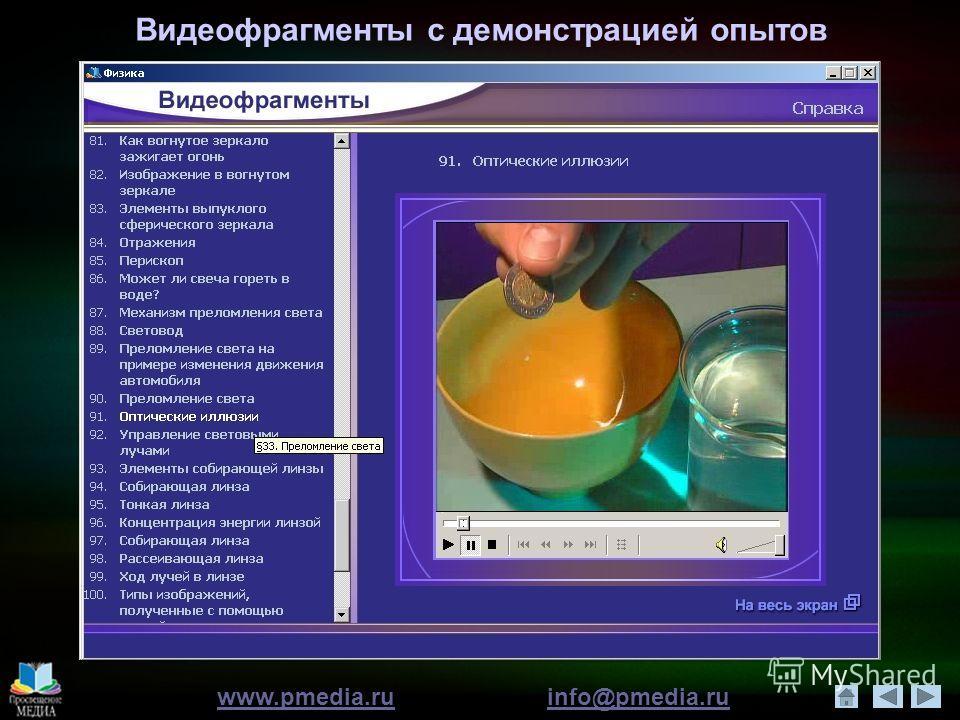 www.pmedia.ruwww.pmedia.ru info@pmedia.ruinfo@pmedia.ru Видеофрагменты с демонстрацией опытов