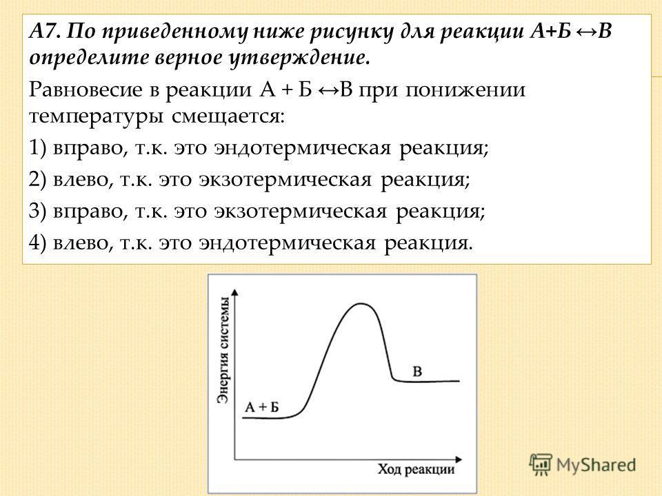 А7. По приведенному ниже рисунку для реакции А+Б В определите верное утверждение. Равновесие в реакции А + Б В при понижении температуры смещается: 1) вправо, т.к. это эндотермическая реакция; 2) влево, т.к. это экзотермическая реакция; 3) вправо, т.
