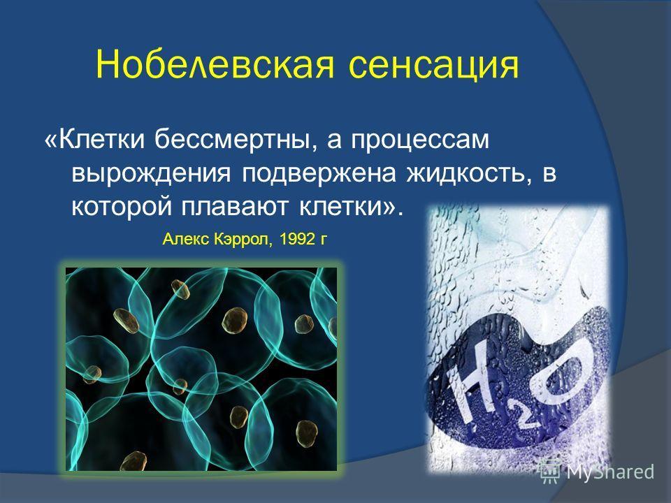 Нобелевская сенсация «Клетки бессмертны, а процессам вырождения подвержена жидкость, в которой плавают клетки». Алекс Кэррол, 1992 г