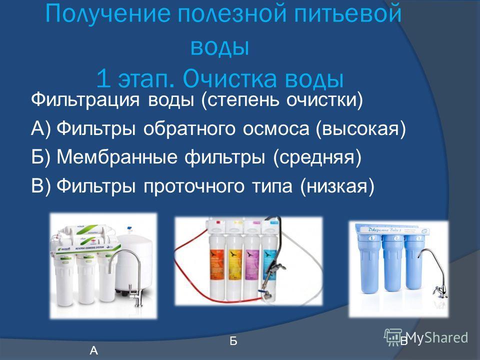 Получение полезной питьевой воды 1 этап. Очистка воды Фильтрация воды (степень очистки) А) Фильтры обратного осмоса (высокая) Б) Мембранные фильтры (средняя) В) Фильтры проточного типа (низкая) А БВ
