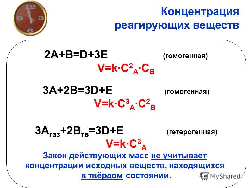 Концентрация реагирующих веществ 2A+B=D+3E (гомоенная) V=k·C 2 A ·C B 3A+2B=3D+E (гомоенная) V=k·C 3 A ·C 2 B 3A газ +2B тв =3D+E (гетероенная) V=k·C 3 A Закон действующих масс не учитывает концентрации исходных веществ, находящихся в твёрдом состоян