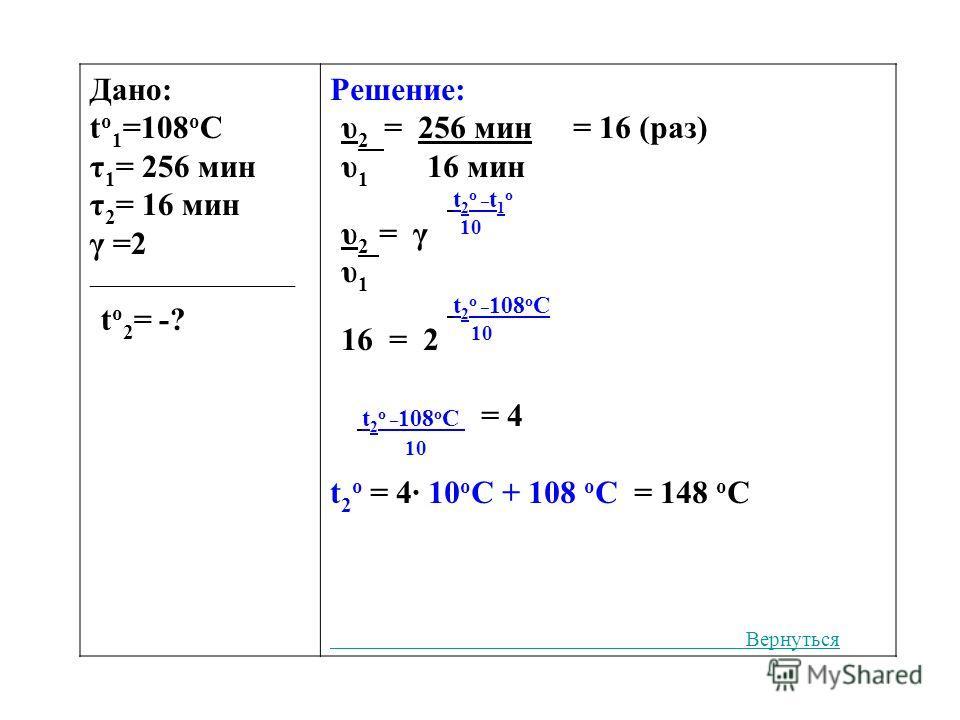 Дано: t o 1 =108 o C τ 1 = 256 мин τ 2 = 16 мин γ =2 ___________________ t o 2 = -? Решение: υ 2 = 256 мин = 16 (раз) υ 1 16 мин t 2 o _ t 1 o υ 2 = γ 10 υ 1 t 2 o _ 108 o С 16 = 2 10 t 2 o _ 108 o С = 4 10 t 2 o = 4· 10 о С + 108 о С = 148 о С Верну